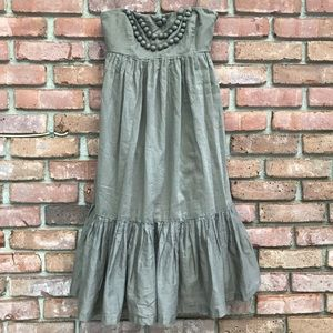 GAP Pom Pom brown strapless dress 243